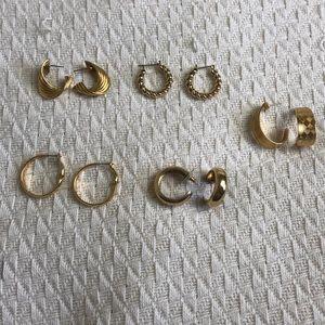 Metal Gold Colored Hoop Earrings Set of 5
